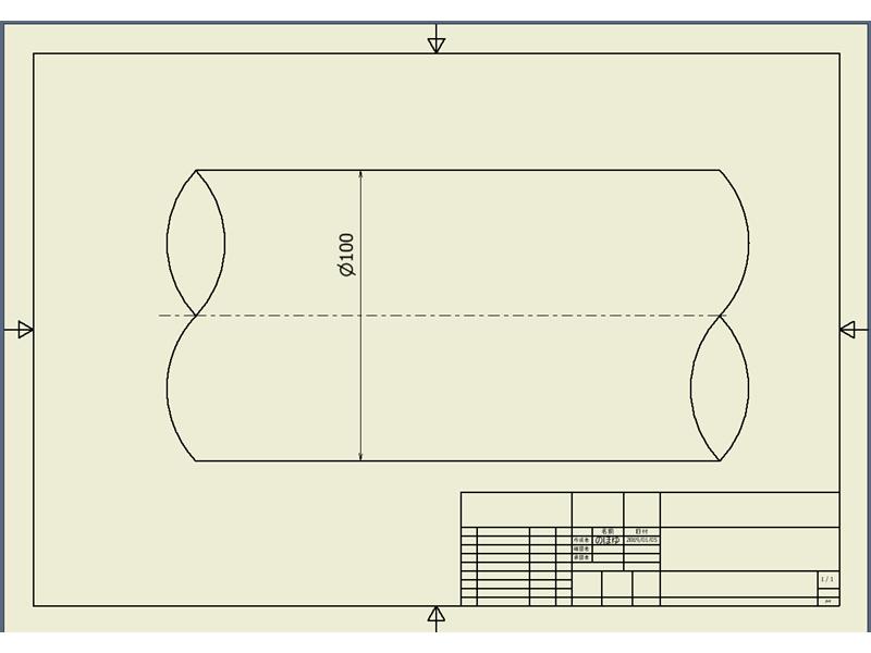 図面上で、軸のS字破断線を描く