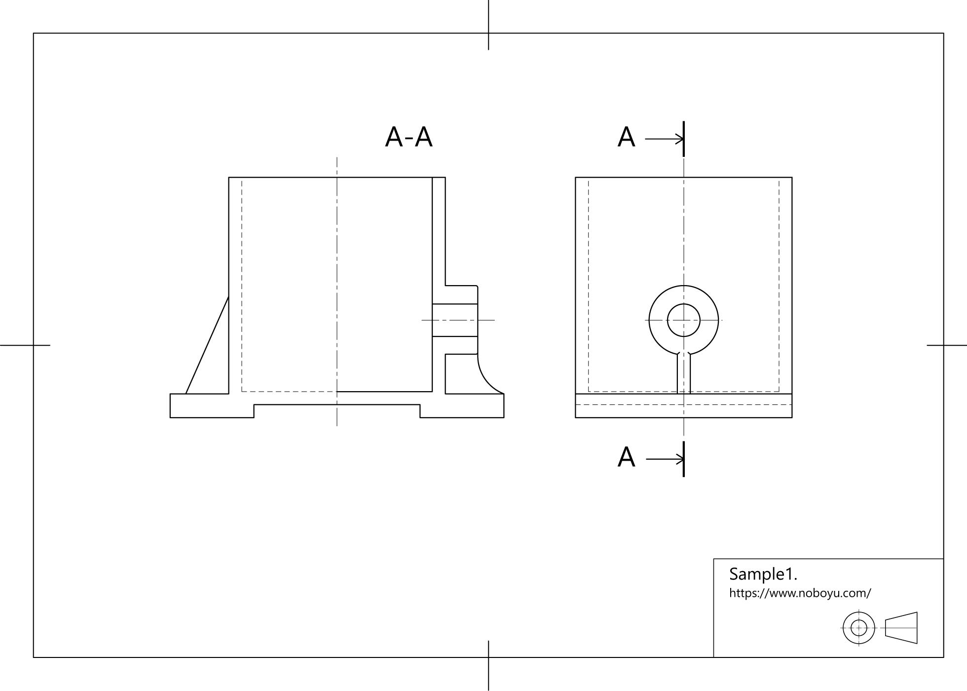 機械製図技能検定、断面図、リブ表現のサンプル