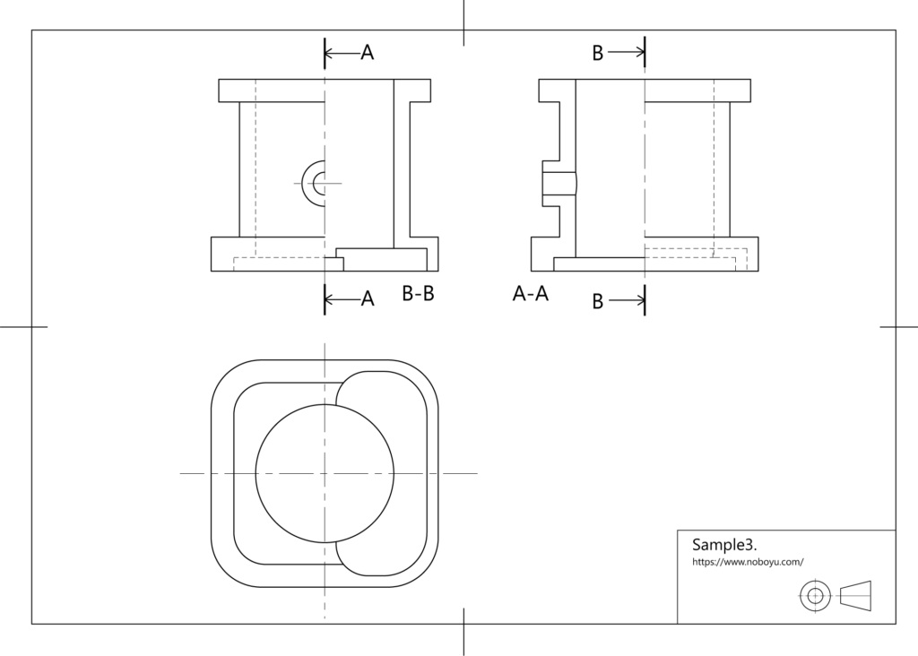 機械製図技能検定、断面図、段差表現のサンプル