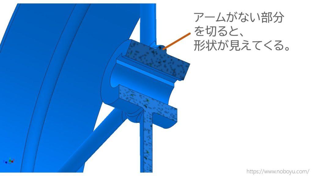 アームは断面図で切断しない。アームがない部分を切ると、断面形状が見えてくる。