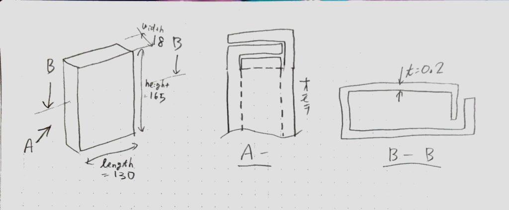ミニチュアパッケージをCADで描く前に、構造を検討したポンチ絵