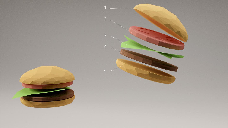 ハンバーガーを分解図にした図